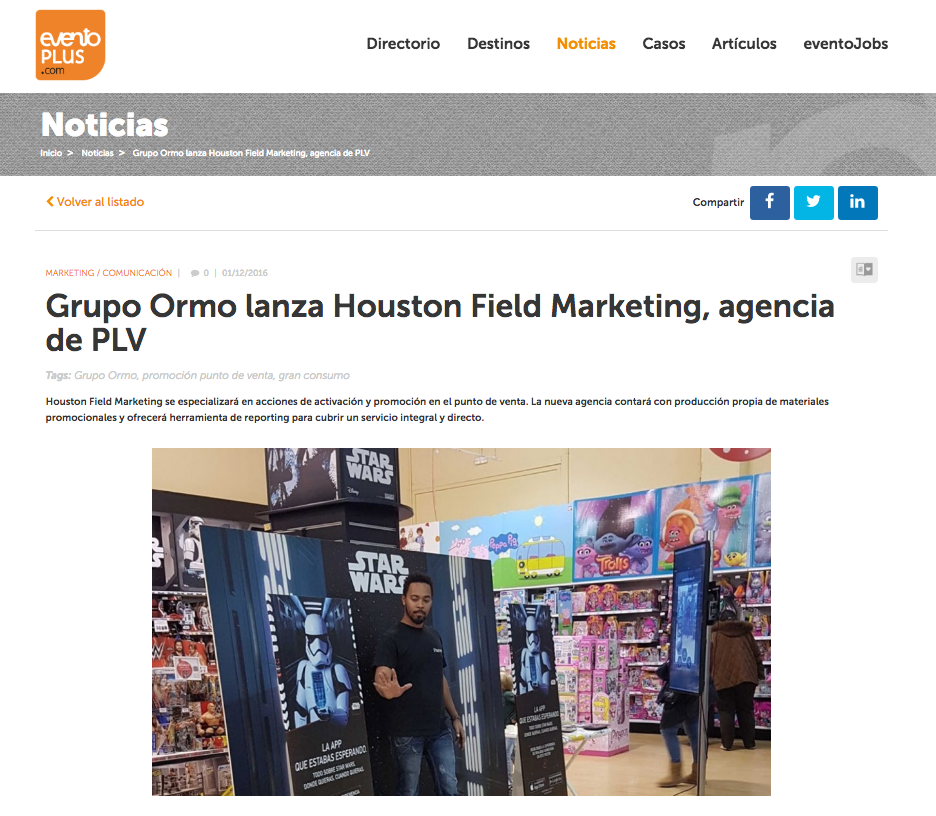 GRUPO ORMO LANZA HOUSTON FIELD MARKETING